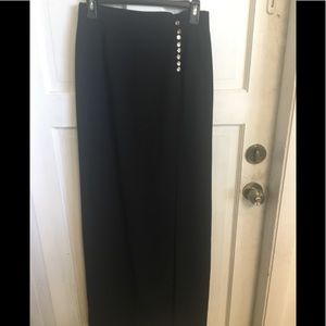 Escada long evening skirt with rhinestone buttons.